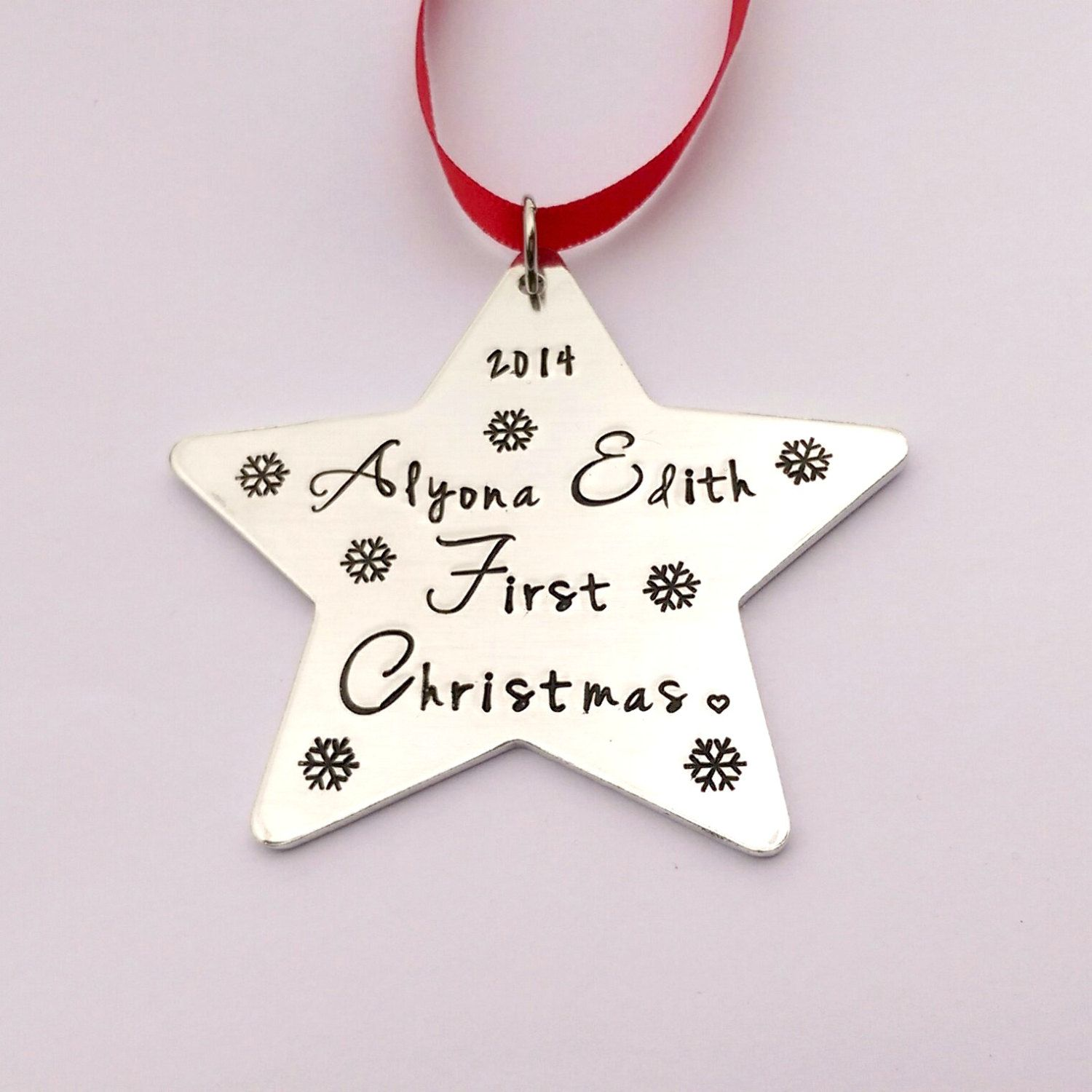 Babys First Christmas personalised tree decoration -  Personalized babys 1st christmas tree ornament - star name christmas tree decoration by EmsStampedJewellery on Etsy