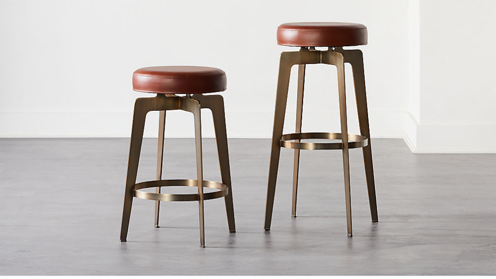 Hayden Round Bar Stools Brown Cb2 Round Bar Stools Bar Furniture Bar Stools