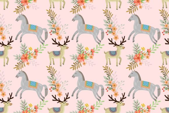 Horse and Deer Seamless Pattern. (Graphic) by ranger262 · Creative Fabrica #horsepattern
