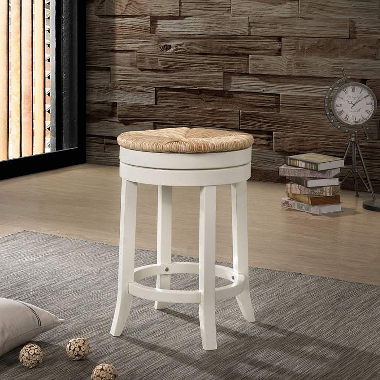 Irving 24 Antique White Wood And Rush Swivel Counter Stool