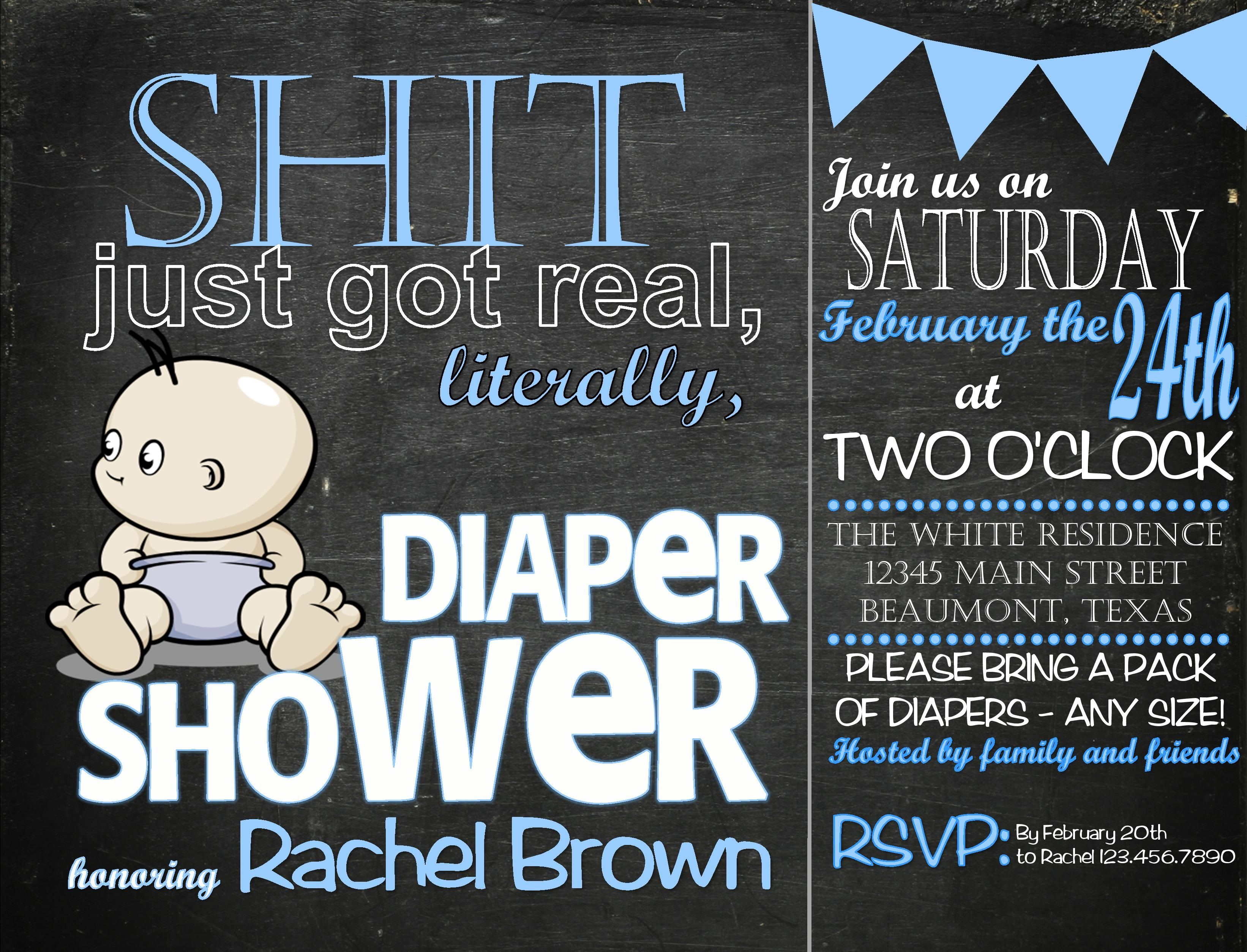 baby shower invitation wording for bringing diapers%0A  u    SHIT JUST GOT REAL u     BABY BOY SHOWER INVITATION https   www