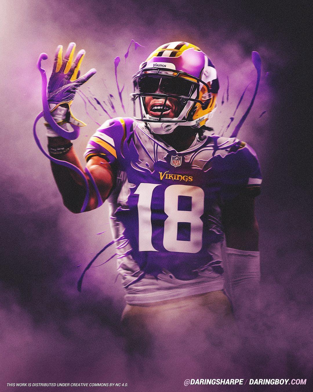 Justin Jefferson Minnesota Vikings Lsu Tigers In 2020 Nfl Vikings Minnesota Vikings Wallpaper Lsu Tigers Football