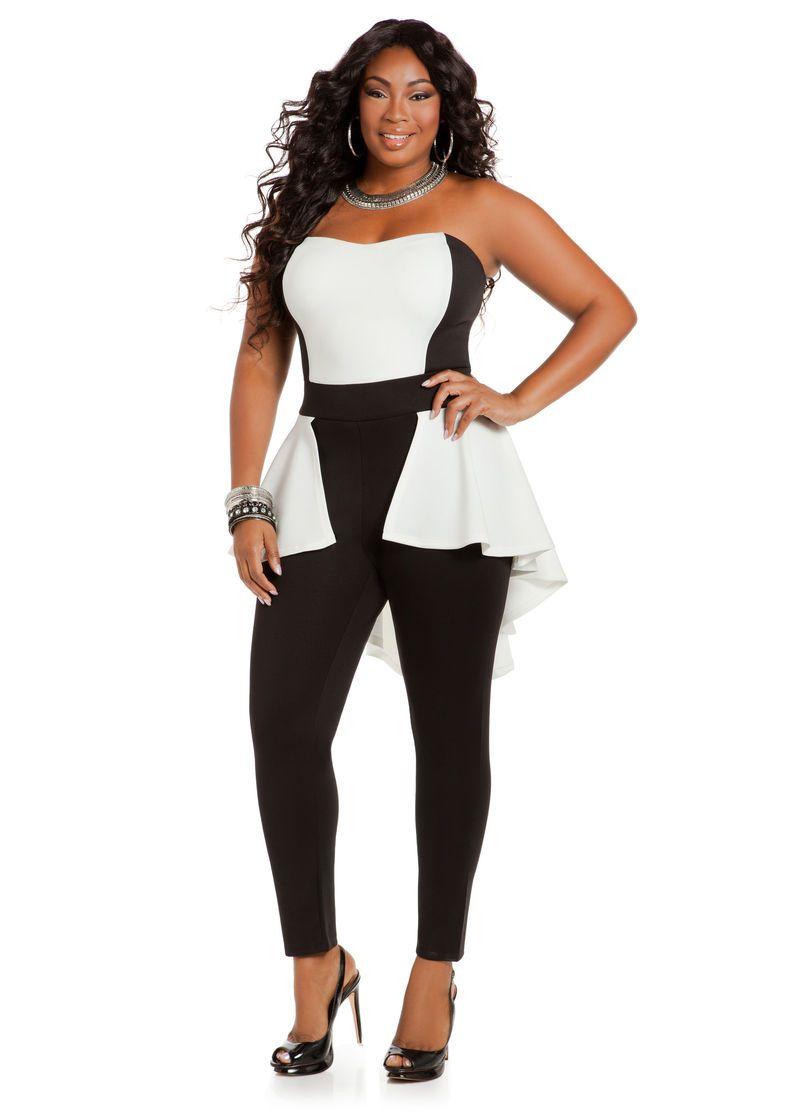 59fee60bc33 Color Block Scuba Jumpsuit - Ashley Stewart