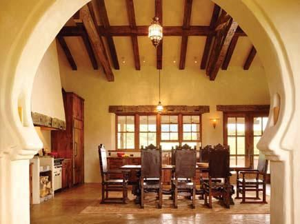 keyhole arch in formal spanish colonial dining | interiors