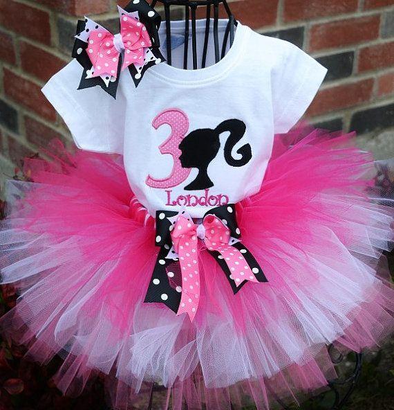 Barbie Zebra Theme 1st And 5th Birthday: Barbie Birthday Girl Tutu Set-