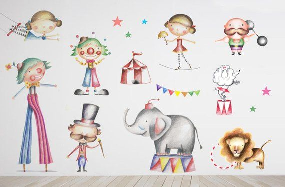Elephant Decor Circus Peel And Stick Wallpaper Elephant Baby Shower Wall Decals Lyon Carnival Cute S Elephant Decor Animal Doodles Elephant Wall Decals