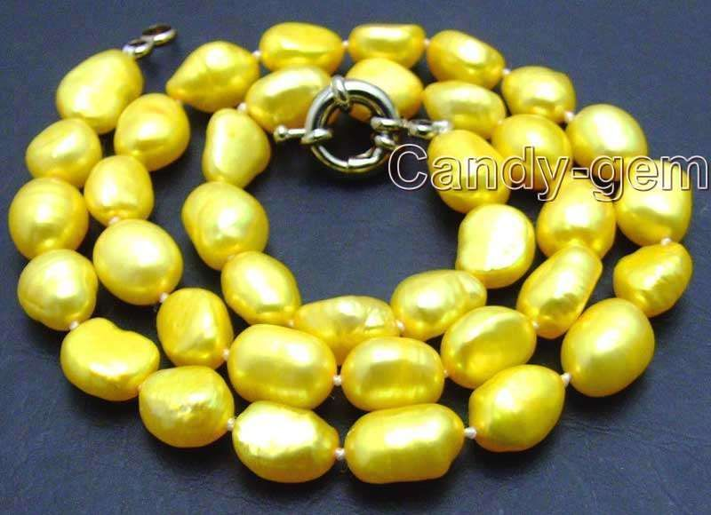 "SALE Yellow Big 7-9mm BAROQUE natural Freshwater PEARL 17""  Necklace-nec5782"