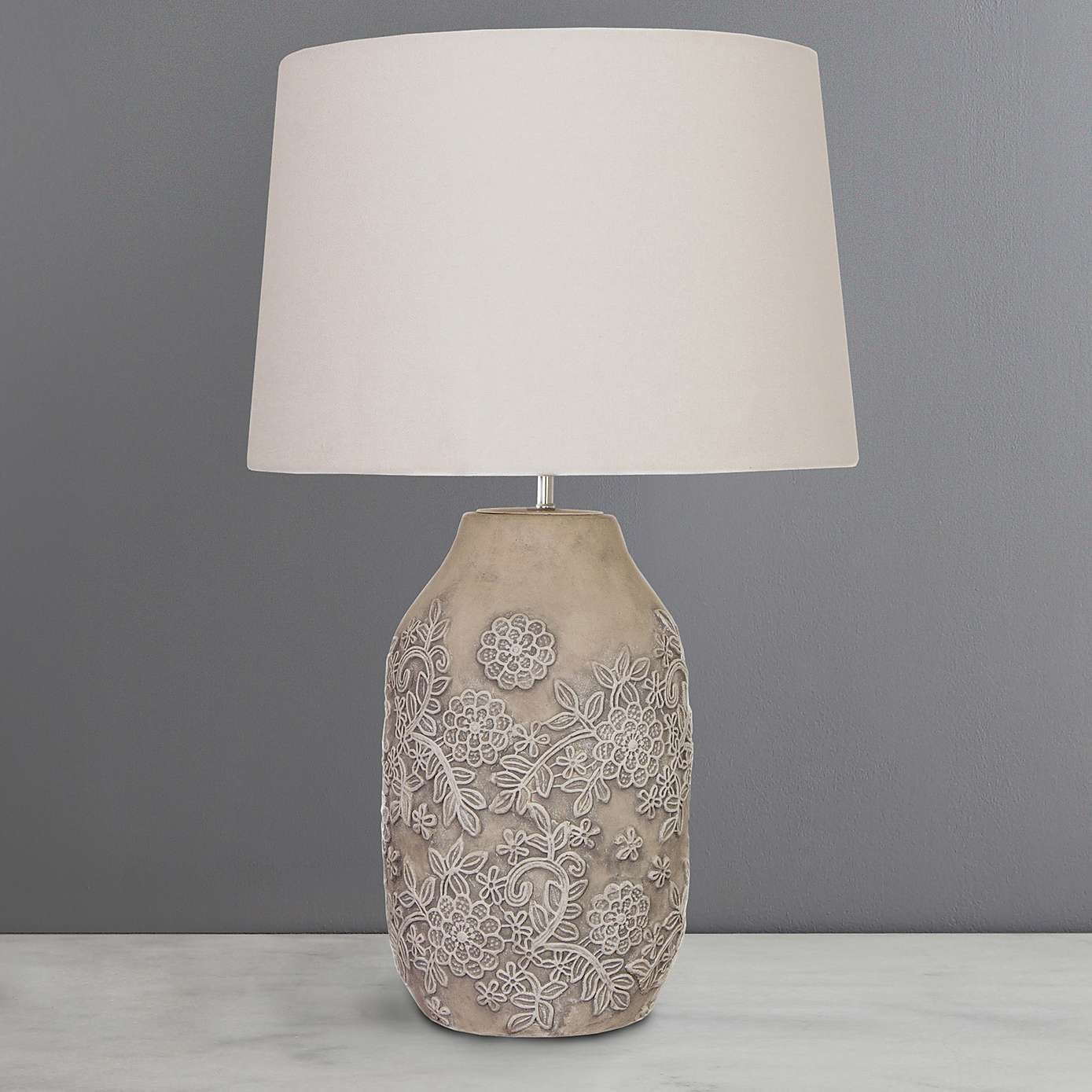 Yvette ceramic table lamp dunelm lighting pinterest handmade with intricate embossed floral patterns over a ceramic base this grey table lamp features a fresh white lamp shade geotapseo Choice Image