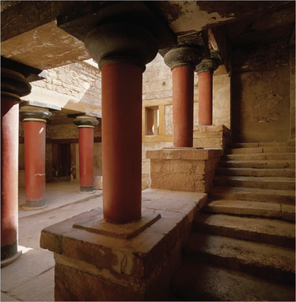 Stairwell in the residential quarter of the Knossos palace - Minoan Bronze Age - Crete, Greece