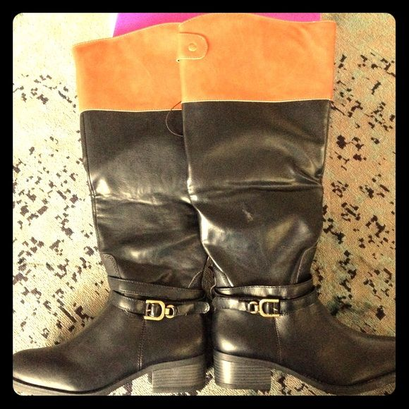 {rampage} NWT! Black and cognac boots Brand new never worn. 8.5 size zip boots. Black and cognac imitation leather. Rampage Shoes Heeled Boots