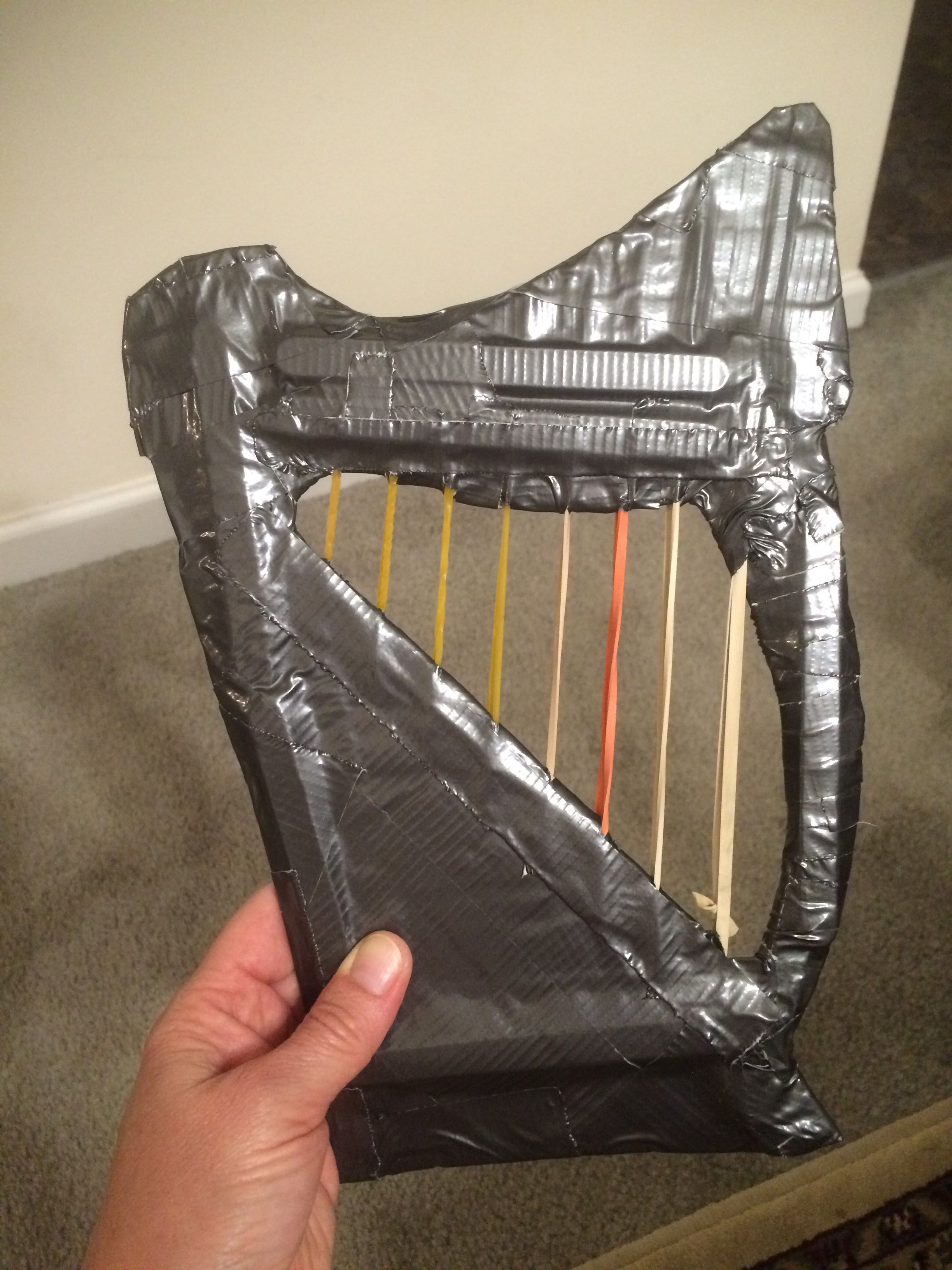 Working Toddler Preschool Sized Harp Made From Cardboard Popsicle Sticks For Stability Rubber Bands And Duct Tape Harp Duct Tape Popsicle Sticks