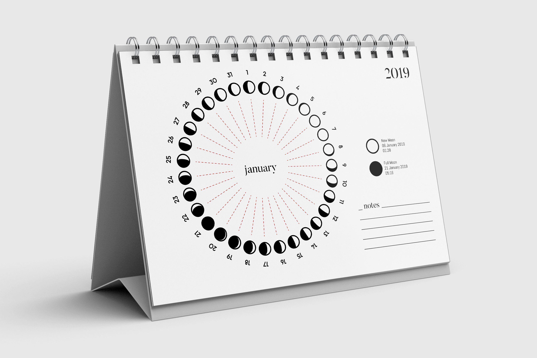 2019 Perpetual Lunar Desk Calendar 2019 Desk Calendar Moon Phase