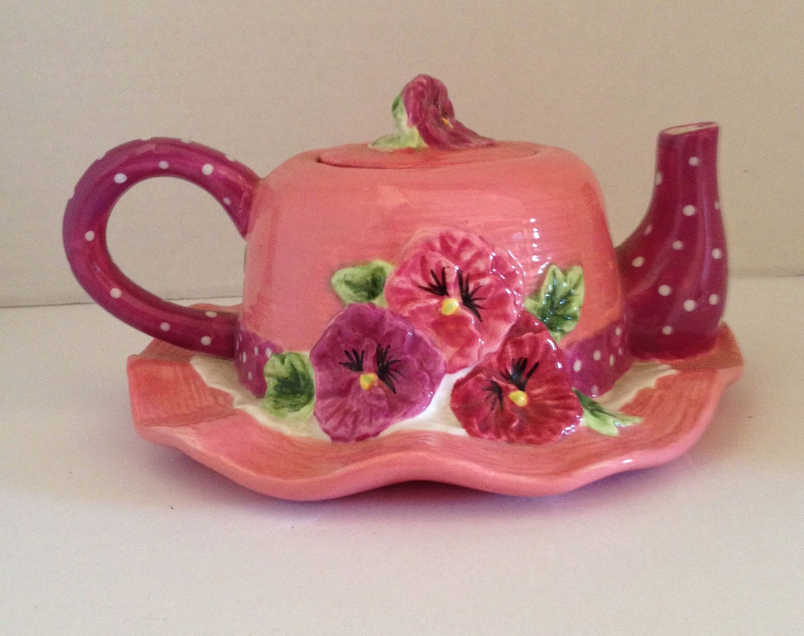Seymour Mann Collezione Italiano Hand Painted Hand Crafted Ceramic Hat Teapot picclick.com
