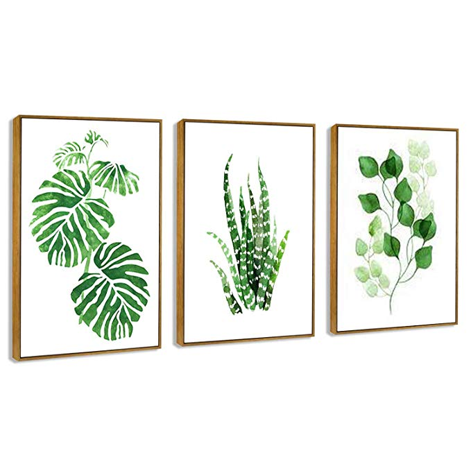 Amazon Com Hepix 3 Panel Tropical Leaves Wall Art Larger Simple Green Plant Canvas Print Framed Wall Painti Leaf Wall Art Bedroom Paintings Canvas Wall Canvas