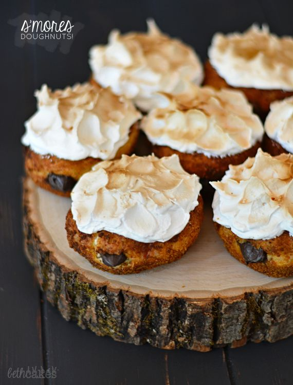 S'mores Doughnuts with toasted, homemade marshmallow fluff and dark chocolate pastry cream