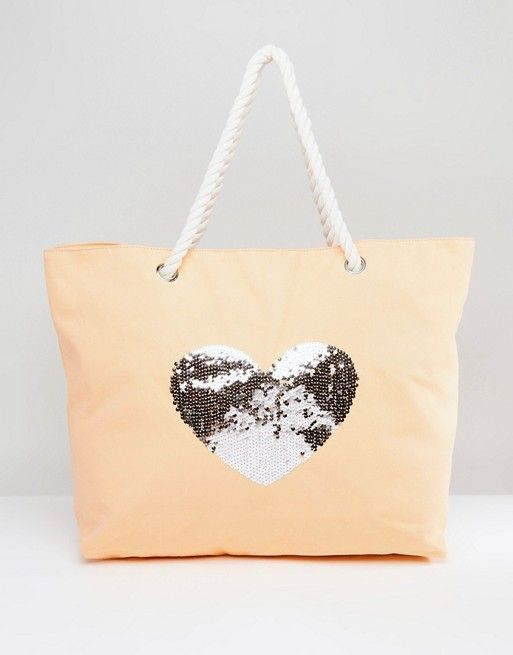 8d01f61189 South Beach Coral Washed Cotton Beach Bag With Sequin Star   ASOS ...