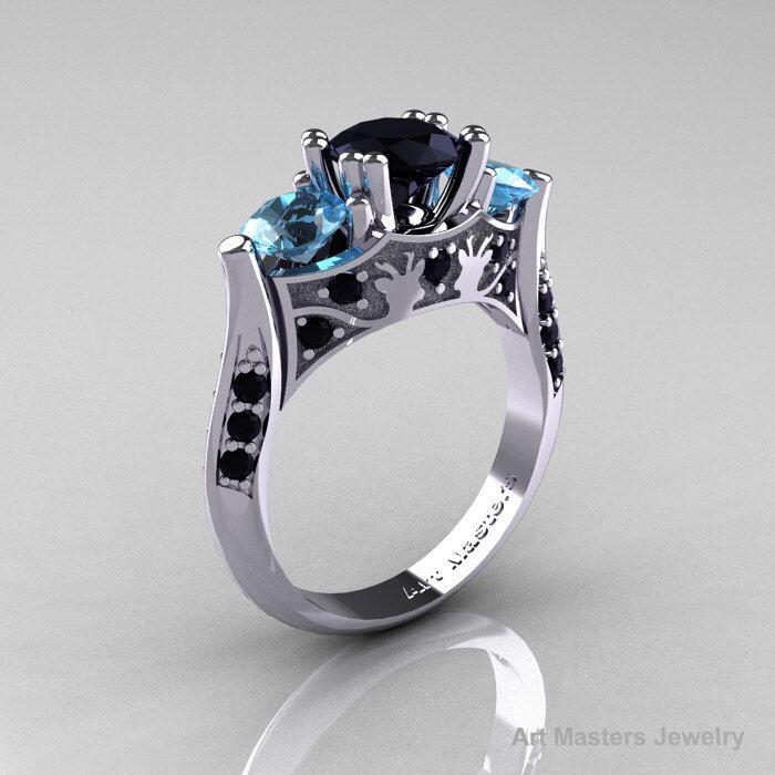 14K White Gold Three Stone Black Diamond Blue Topaz Solitaire Wedding Ring Y230-14KWGBTBD by DesignMasters on Etsy https://www.etsy.com/listing/127542227/14k-white-gold-three-stone-black-diamond