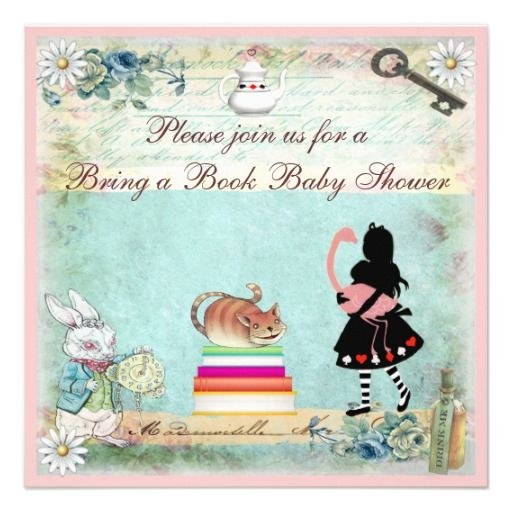 bring a book alice & flamingo baby shower card, Baby shower invitations