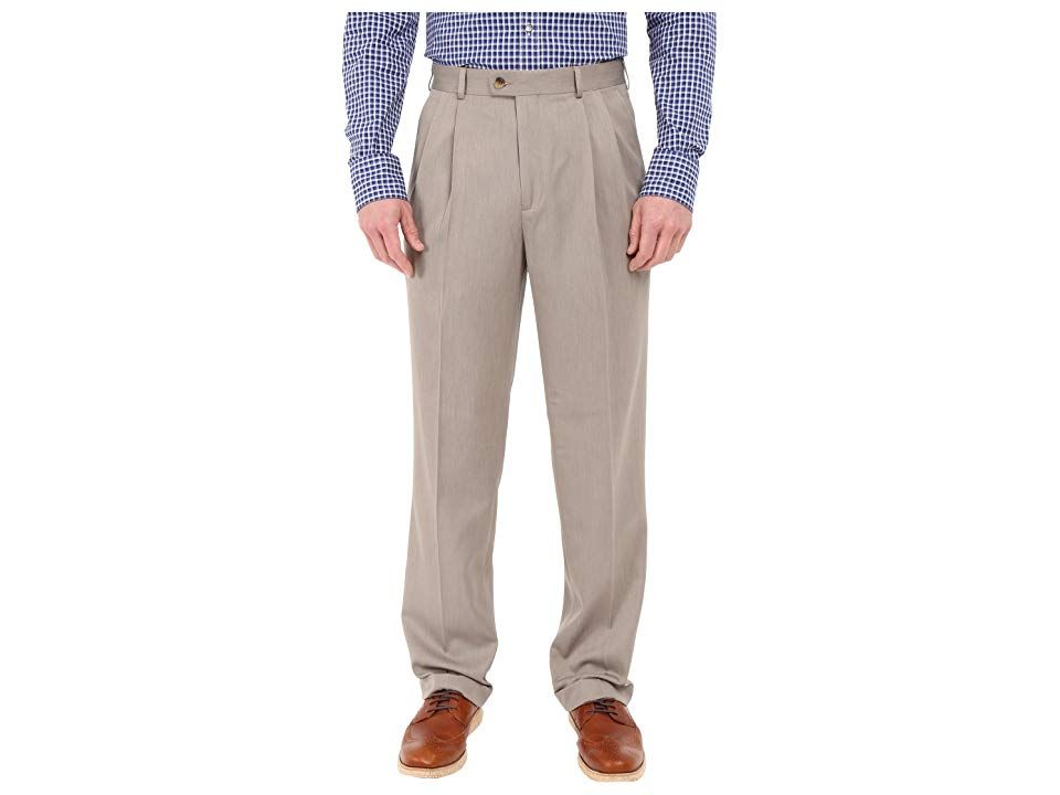 Perry Ellis Portfolio Classic Fit Double Pleat MicroMelange Pant Simply Taupe Mens Casual Pants Part of the Luxe Performance Collection Refine your workday uniform with t...