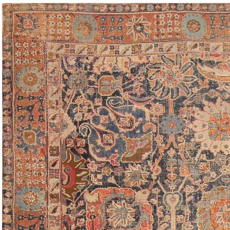 Antique Persian Silk Tabriz Haji Jalili Rug 7991 Nazmiyal Rugs Antique Persian Rug Persian Rug Rugs