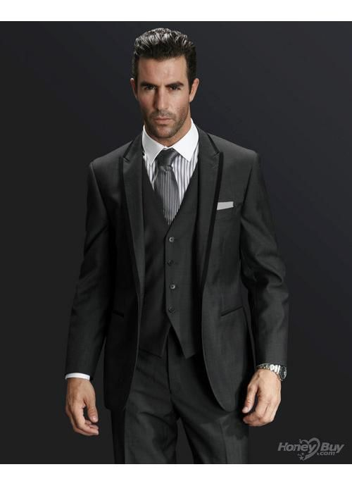 Wool Peak Lapel One Button Black Trim Stylish Handsome Groom Suits ...