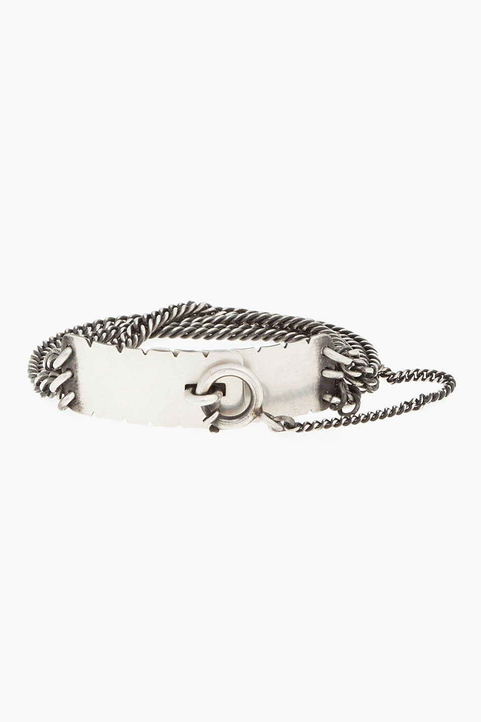 Ann demeulemeester silver chain locking bracelet silver jewelry