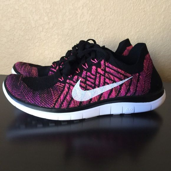 Nike Free 4.0 Flyknit women's size 7.5 pinkwhite! 100