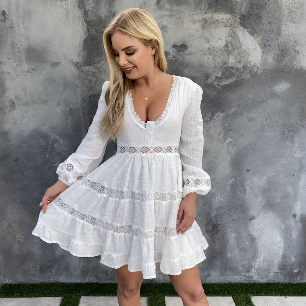Ruffle Flow Ivory Dress In 2021 Country Dresses Dresses Cute Country Dresses [ 1000 x 1000 Pixel ]