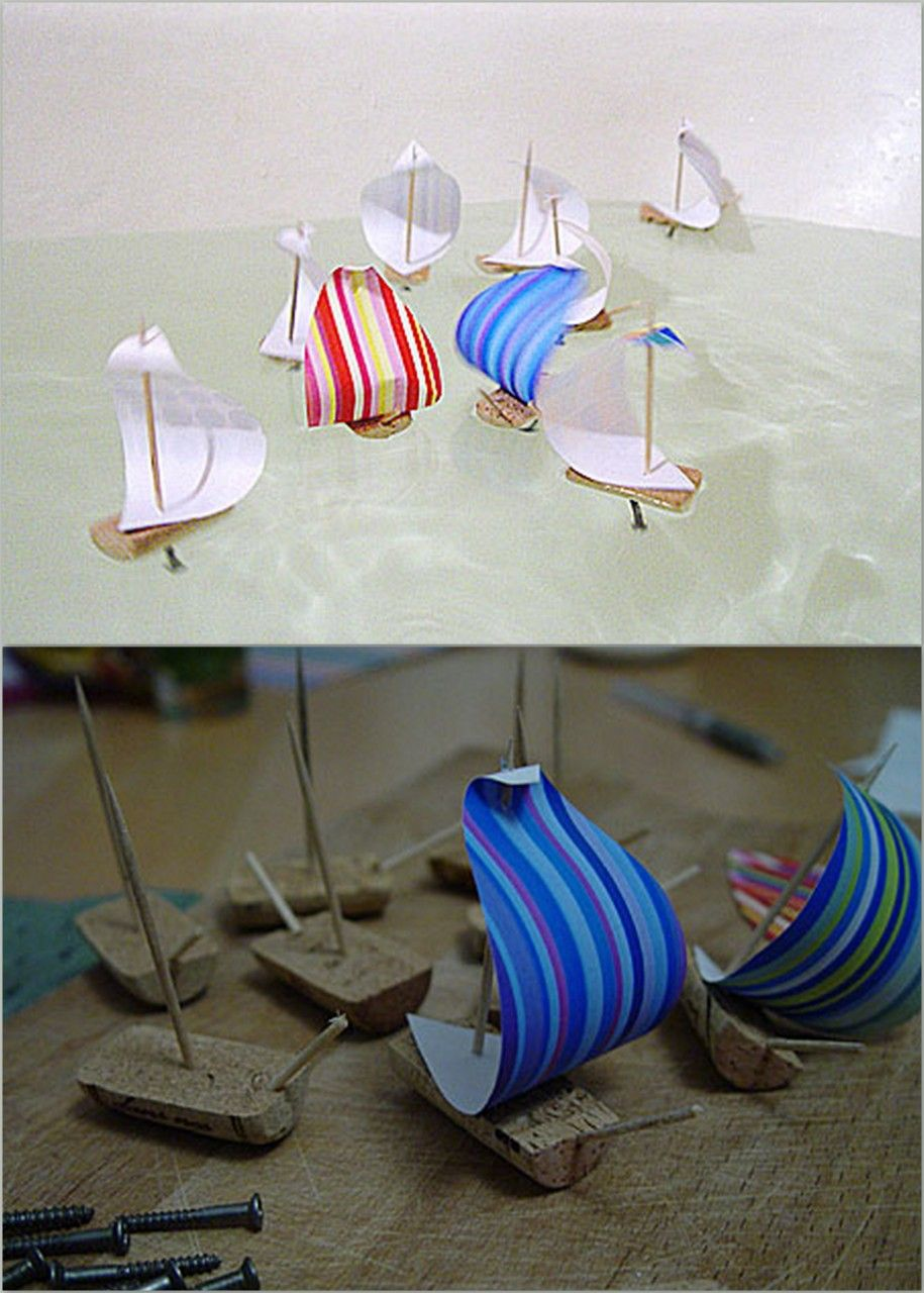 Sometimes The Simplest Activity Can Be The Most Entertaining: DIY Cork  Sailboats For Pools Or Large Tubs Of Water.