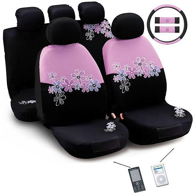Customize Your Car With A Pink And Black Daisy Flowers Montage Automotive Seat Cover Set This Includes Steering Wheel Covers