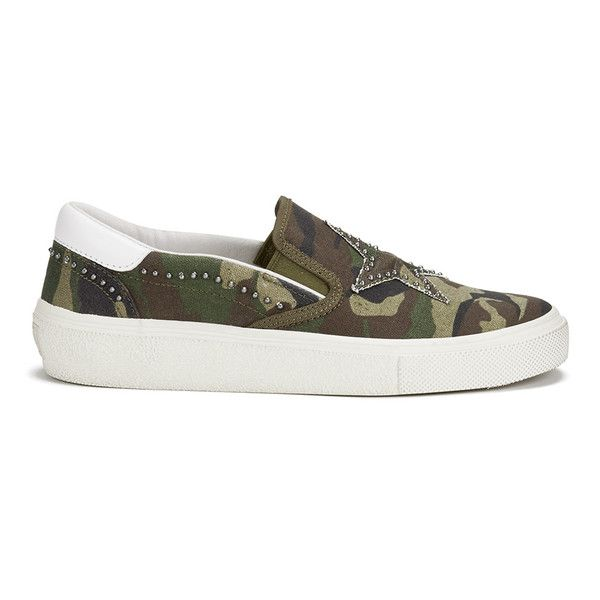 Ash Women's Nikita Canvas Slip-on Trainers (1.330 ARS) ❤ liked on Polyvore featuring shoes, sneakers, green, camo sneakers, white slip on shoes, white canvas sneakers, canvas slip on sneakers and skate shoes