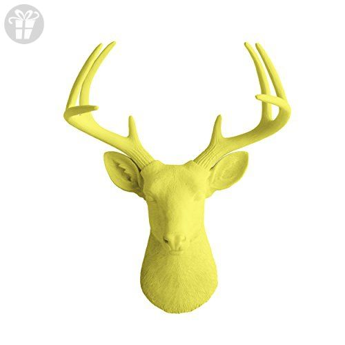Deer Head by Wall Charmers | Yellow Faux Head Mount Bust Fake Animal ...