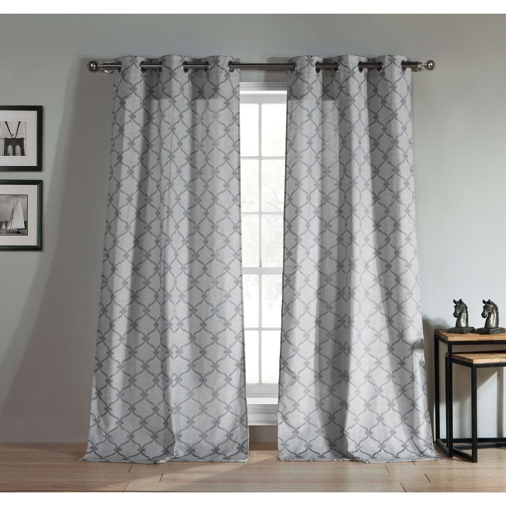"""96/""""L Two Jacquard Window Curtain Panel Set: Grommets Silver Gray Moroccan 2"""