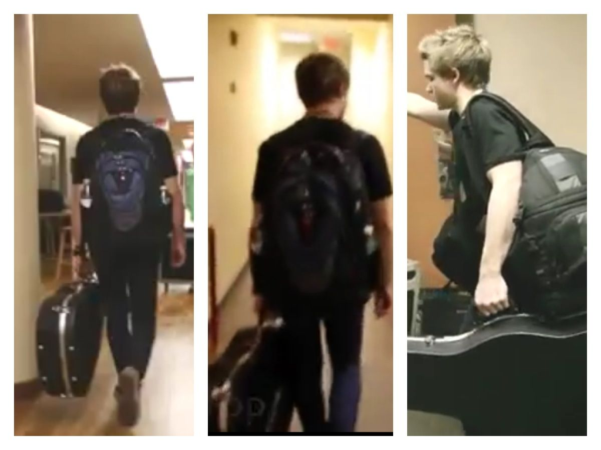 Hunter and his bookbag. He's just adorable
