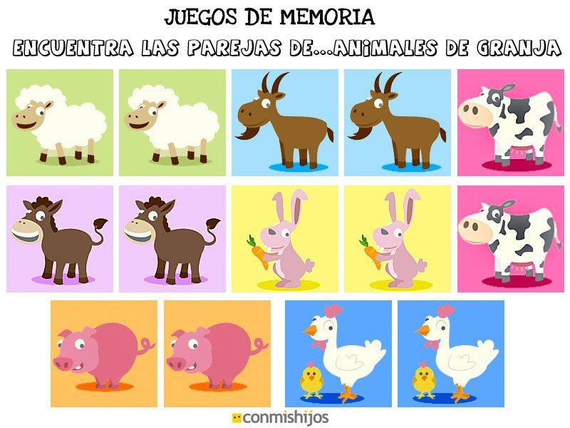 Juegos de memoria Encuentra las parejas de animales de granja - new tabla periodica en memorama
