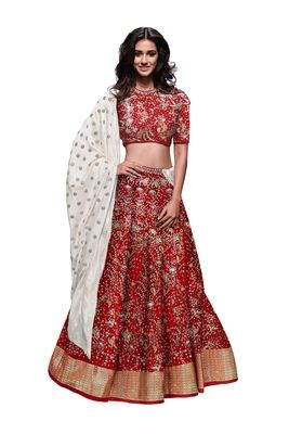 e57fb769b0 Rozy Fashion Red embroidered raw silk semi stitched lehenga choli material  with cotton dupatta