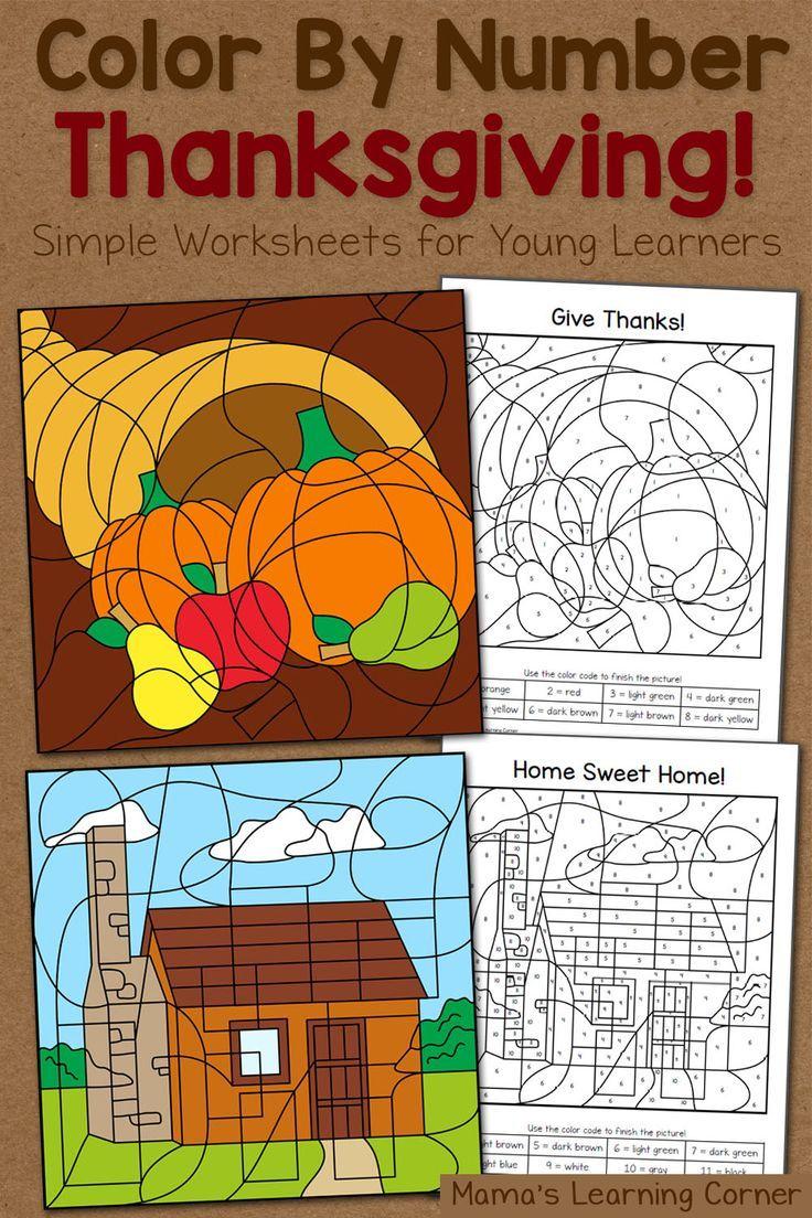 Thanksgiving Color By Number Worksheets | Number worksheets ...