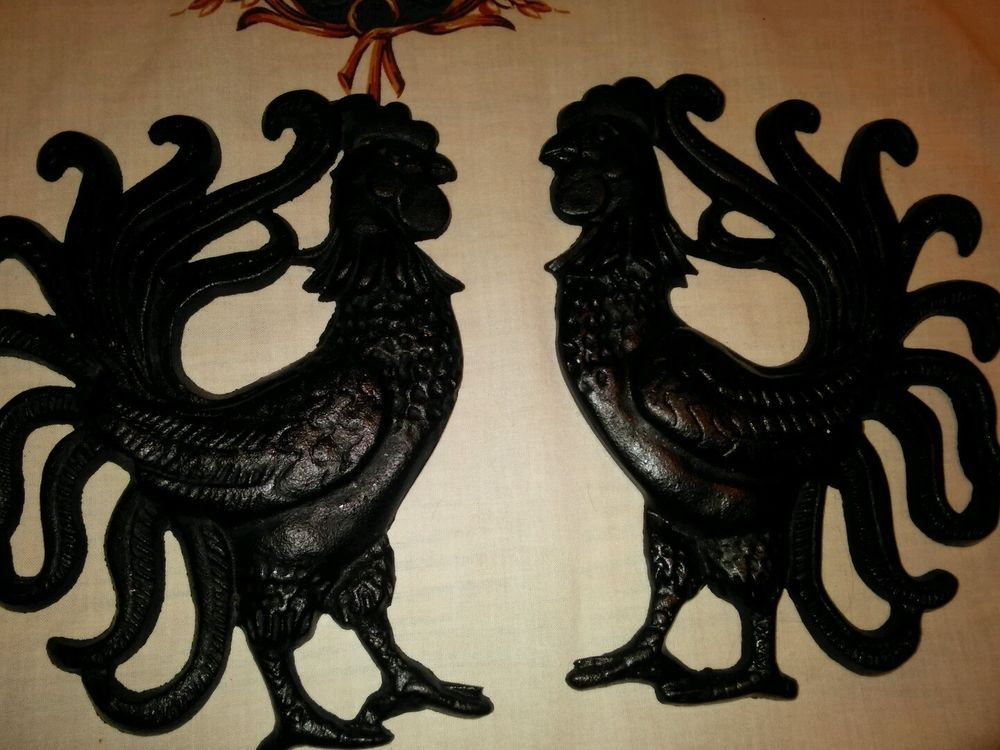 Vintage Cast Iron Rooster Wall Decor Hanging Country Kitchen