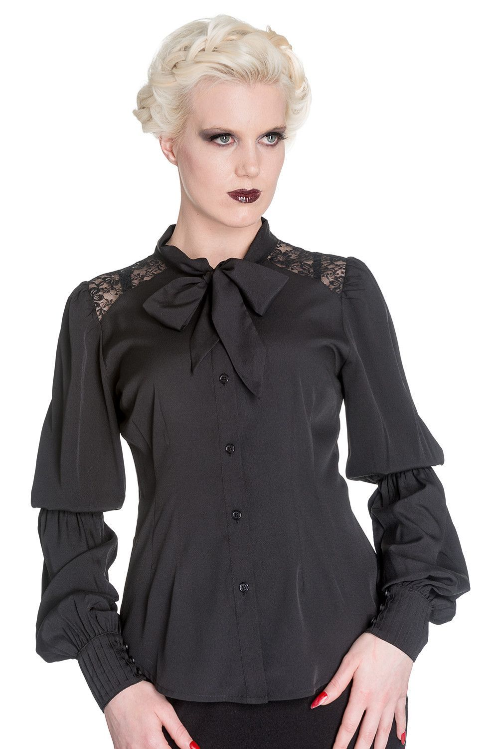 bc16f584164 Skelapparel - Gothic Victorian Romance Black Chiffon Bishop Long Sleeve  Blouse - Plus Size