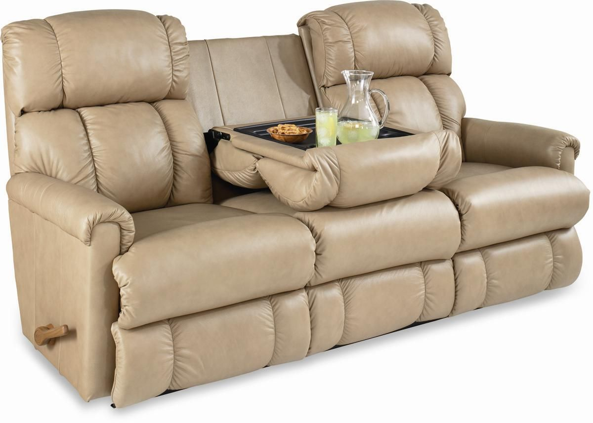 Quotpinnaclequot reclining sofa motion with drop down table for Sectional sofa with drop down table