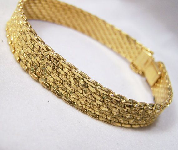 Vintage Monet Gold Tone Bracelet Etched Nugget by GretelsTreasures
