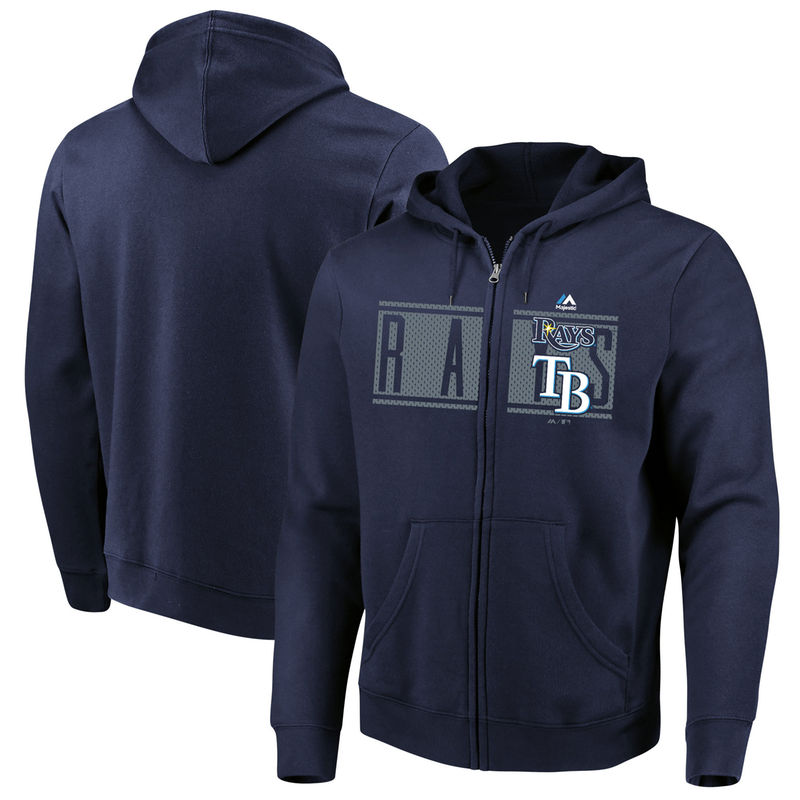 Tampa Bay Rays Majestic Piercing Attack Full Zip Hoodie Navy Full Zip Hoodie Hoodies Tampa Bay Rays
