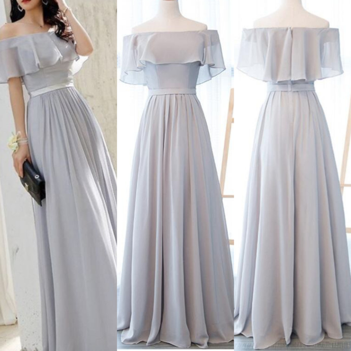 Grey the Off Shoulder Long Party Gowns, Grey Prom Dress 2019 - Grey prom dress, Grey prom dress long, Simple bridesmaid dresses, Prom dresses, Party gowns, Grey dress outfit - When you purchase the dress, we will email to you within 24 hours to confirm the order and size information, please check and reply in time! Thank you so much   Making time 23 weeks  Shipping time 35 working days Rush order is available, and there is no extra cost for rush order  When you place the order, please leave us the rush information, so we can do rush order for you  Custom size or color is available  Here is our email address WeddingPromDresses@outlook com, please feel free to send us email if there is any questions   Fabric Chiffon Color Light Grey Hemline Floor Length Neckline Scoop Back Zipper  Custom Measurements For better fitting, You can leave us the following information in the order notes when you check out, and please have a look our measuring guide at first  1  Bust              inches  2 Waist              inches  3 Hips               inches  4  Your height without shoes           inches  5  The height of shoes         inches 7 Occasion Date          1  Packing in order to save your shipping cost, each dress will be packed tightly with water proof bag   2, Shipping by UPS or DHL or some special airline  3  Payment Paypal, bank transfer, western union, money gram and so on  4  Return Policy  We will accept returns if dresses have quality problems, wrong delivery time, we also hold the right to refuse any unreasonable returns, such as wrong size you gave us or standard size which we made right, but we offer free modify   Please see following for the list of quality issues that are fully refundable for  Wrong Size, Wrong Colour, Wrong style, Damaged dress 100% Refund or remake one or return 50% payment to you, you keep the dress  In order for your return or exchange to be accepted, please carefully follow our guide  01  Contact us within 2 days of receiving the dress (please let us know if you have some exceptional case in advance)  02  Provide us with photos of the dress, to show evidence of damage or bad quality, this also applies for the size, or incorrect style and colour etc   03  The returned item must be in perfect condition (as new), you can try the dress on, but be sure not to stretch it or make any dirty marks, otherwise it will not be accepted   04  The tracking number of the returned item must be provided together with the reference code issued   05  If you prefer to exchange dresses, then a price difference will be charged if more expensive   06  You are required to pay for the shipping fee to return or exchange the dress   07  When you return the package to us, please pay attention to the following points, if not, customers should pay for the duty  we put all of our energy and mind into each dress, each of our dress are full of love, our long experience and skilled craftsmanship keep less return rate till now, but if there are our problems, we could return all your payment, for more details, please see our FAQ   08, Custom taxes  Except Unite States, most buyers need to pay customs taxes, in order to save cost for you, we have marked around $3040 00 on the invoice, then you just pay less taxes, please note that it's express help customs collect this payment, it is not shipping cost, as shipping cost has already paid before sending     Thank you for shopping from us
