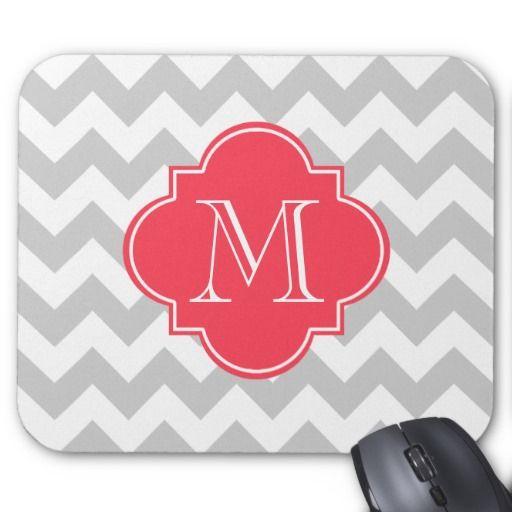 Gray and Red Modern Chevron Custom Monogram Mouse Pad