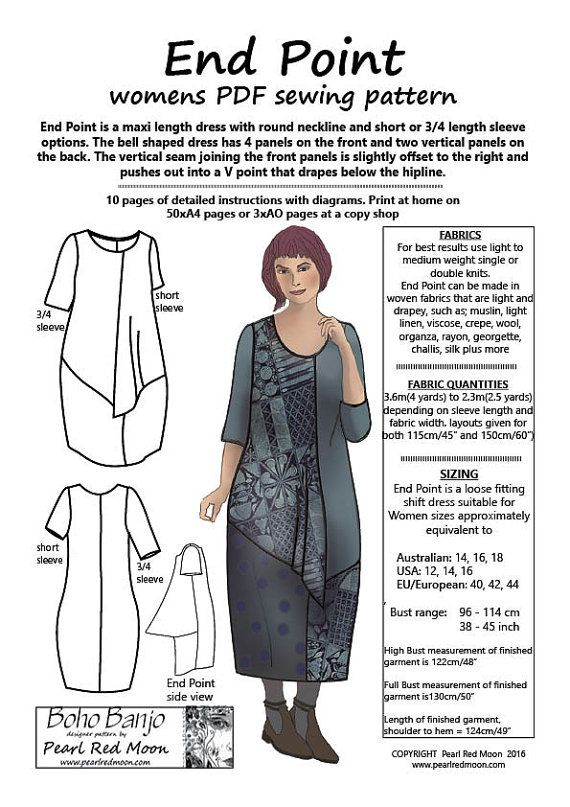 Lagenlook style dress by independent designer. This is a PDF pattern ...