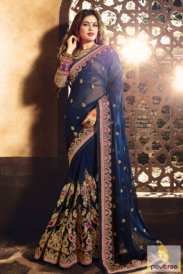 Being Pride By Wearing This Stunning Cobalt Blue Color Heavy Worked Wedding Reception Saree For Even Saree Designs Lehenga Style Saree Party Wear Sarees Online