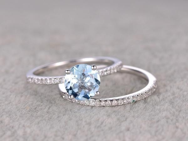 2pcs Round Blue Aquamarine Wedding ring set.Engagement ring,Diamond wedding band,Solid 14K White Gold,Gemstone Promise Bridal Ring,Stacking #aquamarineengagementring