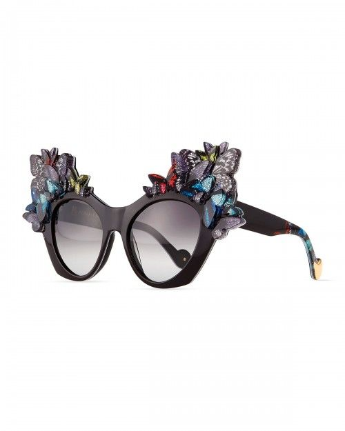 b2cadbf7c7 Anna Karin Karlsson 3d Glitter Butterfly Sunglasses Black