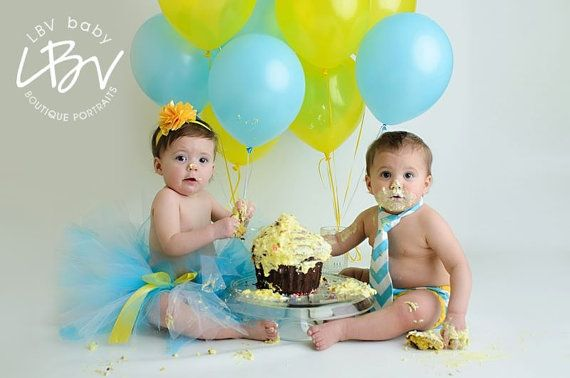 Twin Brother Sister Matching Cake Smash Set Baby Boy And Girl In Aqua White With Yellow Trims