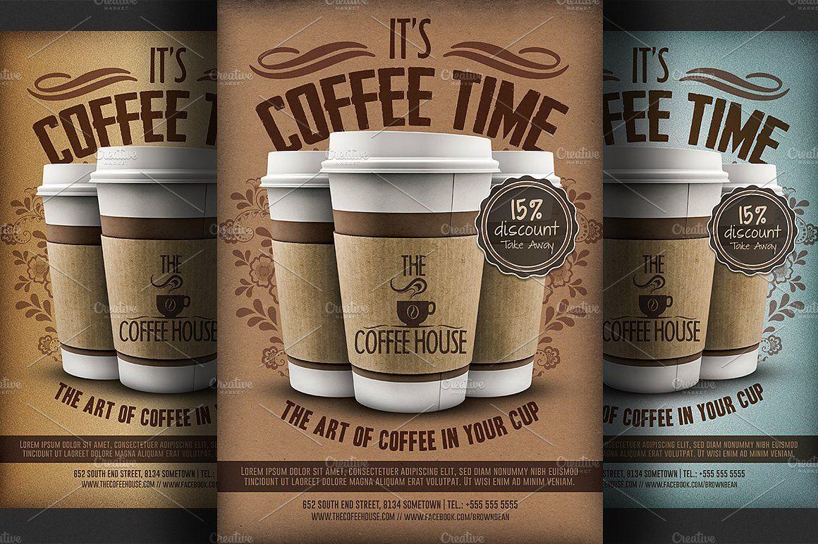 Coffee shop promotion flyer template disenos de unas